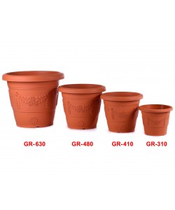 BABA GR Flower Design Plastic Pot