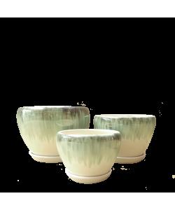 Ceramic 12389 Greenish-white Bowl Pot