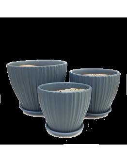 Stylish Grey Bowl Ceramic Pot