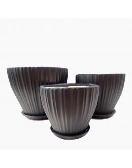 Smoked Black Shell Design Ceramic Pot