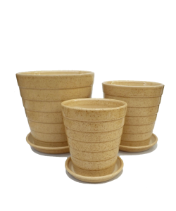 Beige Tiered Ceramic Pot