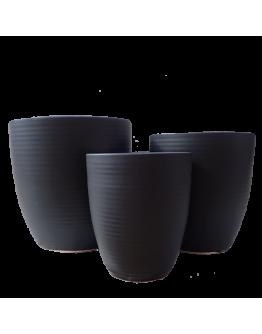 Matt Black Line Design Ceramic Pot