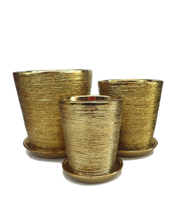 Gold Galvanized Design Ceramic Pot