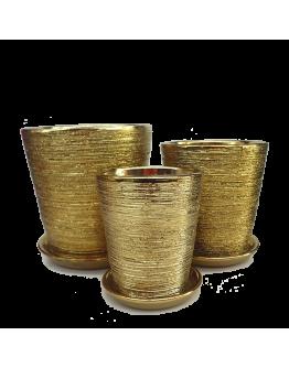 Gold Galvanized Design Ceramic Pot