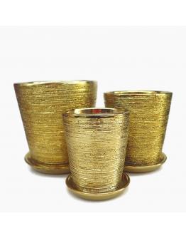 Gold Galvanized Brushes Ceramic Pot