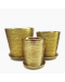 Gold Galvanized Brushes Ceramic Pot