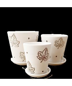 White with Maple Leaf Motifs Ceramic Pot