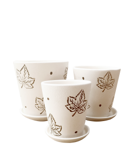 White with Maple Leaf Motifs Ceramic Pot