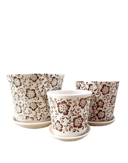 White with Brown Motifs Ceramic Pot