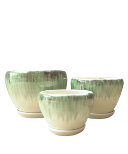 Glazed Green with white Ceramic Pot