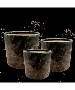 Black Marble Design Ceramic Pot