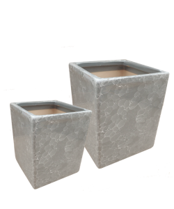 Grey Marble Square Ceramic Pot