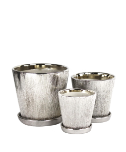 Ceramic 8051 Silver Galvanized Pot