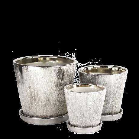 Silver Galvanized Design Ceramic Pot