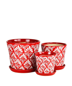 Red with white motifs Ceramic Pot