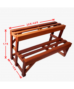 2 Tier Chengal Timber Flower Stand