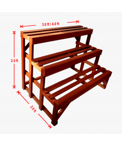 3 Tier Chengal Timber Flower Stand